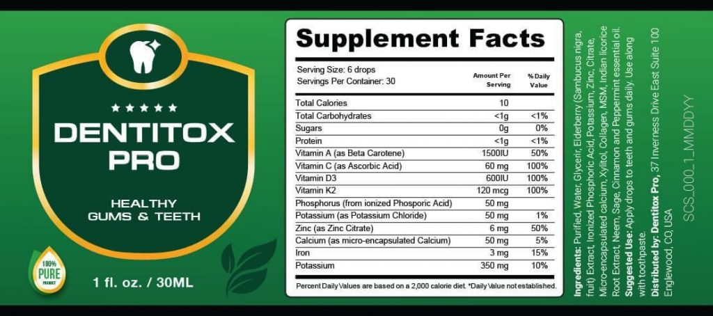 Dentitox Pro Ingredients
