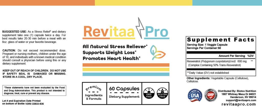 Revitaa Pro Ingredients
